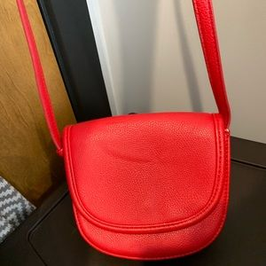 Red small forever 21 crossbody bag with long strap